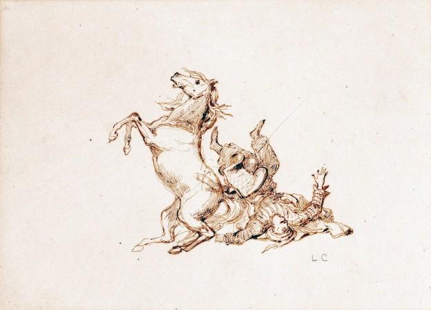 22 Cogniet Cavalier tombant 14x19