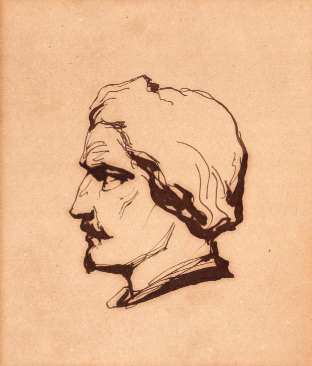Autoportrait Léon Cogniet 13,5x11,5cm