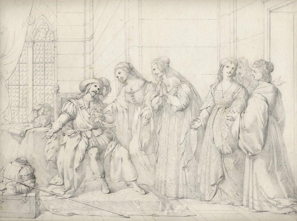 Gazzarrini Azzo Visconti pregato dalle donne Lucchese  27 x 36 cm (Copier)