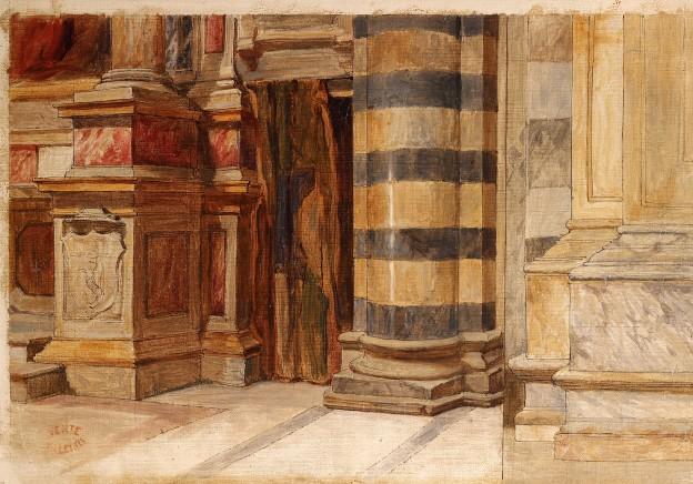 Théodore Valerio Vue d'interieur d'église